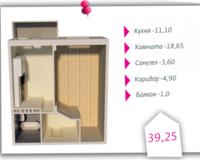 1-комнатная квартира 39.25 кв. м