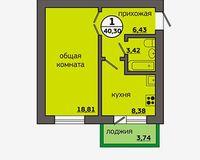 1-комнатная квартира 40.3 кв. м