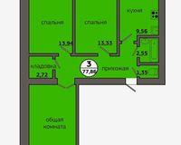 3-комнатная квартира 77.86 кв. м