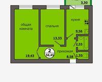 2-комнатная квартира 56.45 кв. м